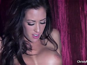huge-boobed honies Christy and Capri smash on the bed