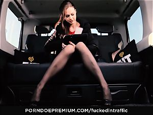 fucked IN TRAFFIC - Footjob and car sex with Tina Kay