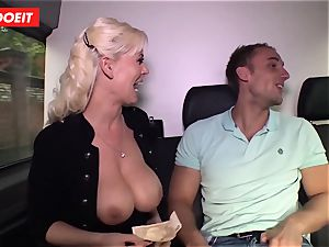 German cougar gets donk romped in gonzo bus sex