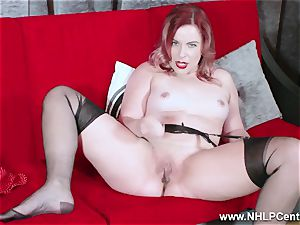hot babe peels off ebony lingerie wanks in nylon garter