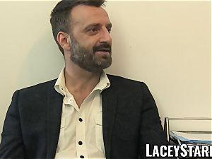 LACEYSTARR - GILF gobbles Pascal milky jism after sex