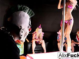 insatiable Clown disrobe Club lezzy pummeling