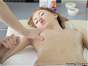 Ginger babe paws the masseuses hard-on till it goes boom