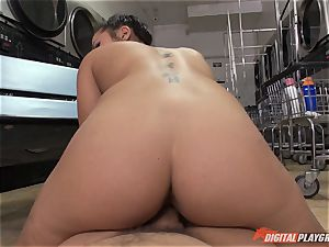Caught on camera in the laundrette with uber-sexy babe Morgan lee