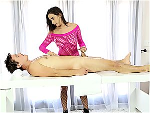 Ashley Adams tearing up fellow on the stroking table