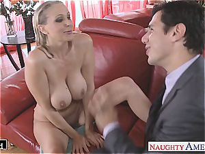 magnificent Julia Ann blows pink cigar and gets painted white