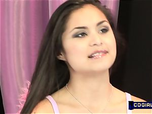 Latina teen converses then enjoys a magic vibrator ejaculation