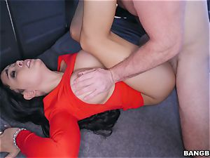 Aaliyah Hadid picked up and pummeled on the BangBus