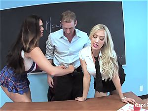 2 kinky college girls have fun with their teacher