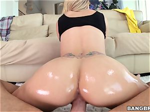 Jessa Rhodes is lubed up and prepared to be pummeled