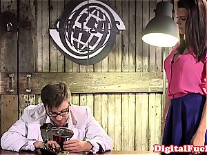 fat breast girl ultra-kinky at work for a excellent hard-on inwards