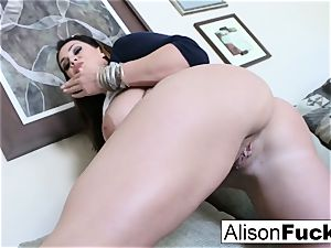 ample tit Alison kneads her massive melons