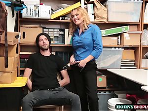 Krissy Lynn searches suspended shoplifter and rides his stiffy