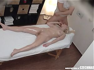 big-titted blonde rails massagist