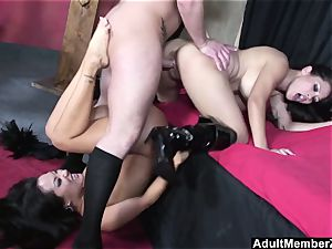 fortunate boy three-way with asian dominatrixes