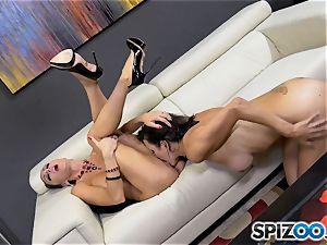 horny minge slurper Jessica Jaymes lets her tongue loose on Shay sights