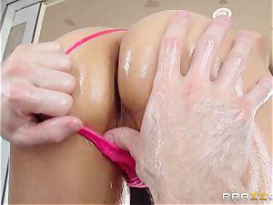Sarah Vandella suffers an oily assfuck banging