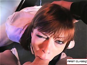 first Class pov - Alexa Nova sucking a massive trouser snake in point of view