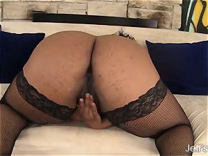 black bbw Marliese Morgan tries fuck-a-thon playthings