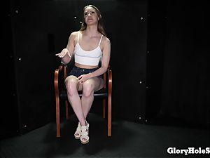 nubile girl licking gloryhole cum from strangers