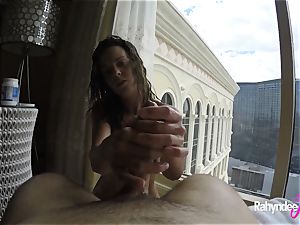 Rahyndee pleasuring fuck-stick in Las Vegas hotel point of view