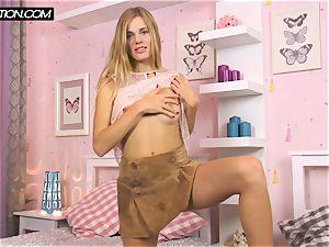 ash-blonde Chernova taking hold of her body