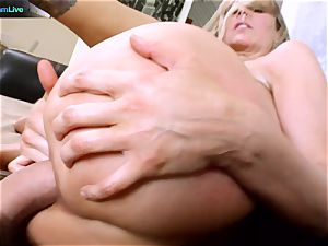 Julia Ann getting her widely opened hole opened up