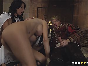 Alluring Anissa Kate and Jasmine Jae obey the king's will and jizz-shotgun